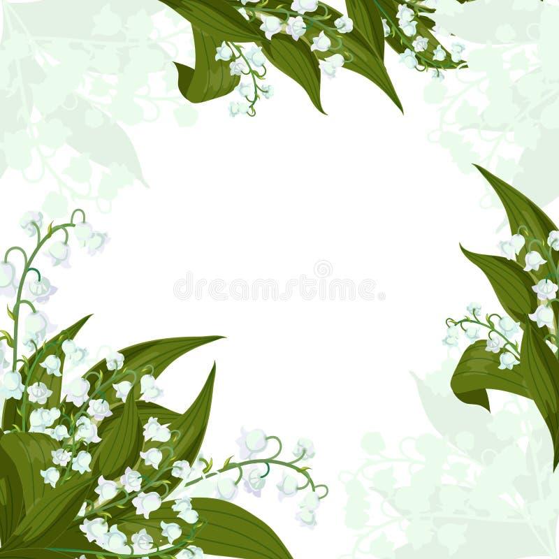 ano novo feliz 2007 Lilly do vale - sinos de maio, majalis do Convallaria com folhas verdes em um fundo branco ilustração royalty free