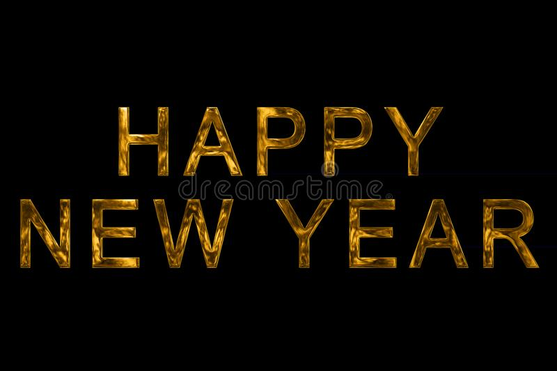 Ano novo feliz metálico 2018 de ouro amarelo do vintage, 2019, 2020, 20 ilustração royalty free
