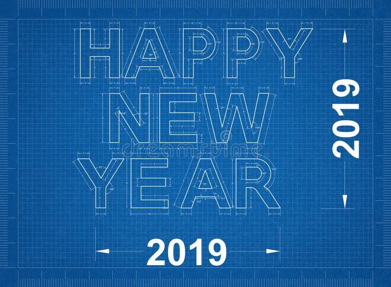 Ano novo feliz 2019 - modelo ilustração stock