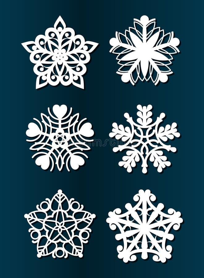 Ano novo feliz, Feliz Natal, corte do laser Jogo de decorações do Natal Objetos a céu aberto isolados do brinquedo, flocos de nev ilustração royalty free