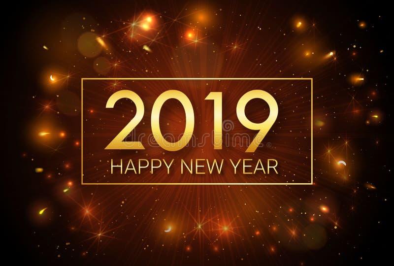 Ano novo feliz 2019 Natal Cumprimentando a inscrição dourada no fundo dos fogos de artifício ilustração royalty free