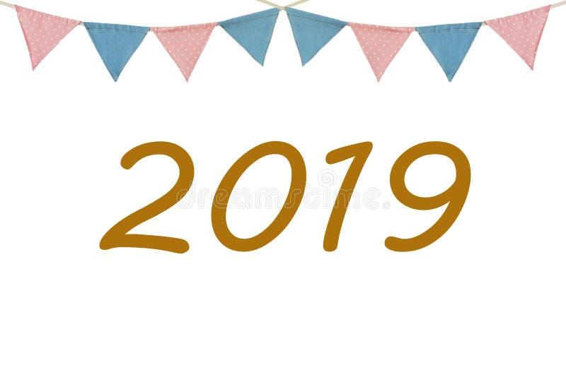 Ano novo feliz 2019 no backgr branco das bandeiras da estamenha da madeira e do partido imagens de stock royalty free