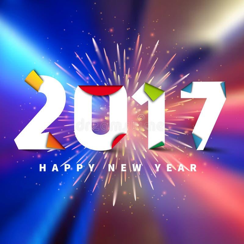 Ano novo feliz 2017 No bokeh fundo borrado com fogos-de-artifício, ilustração stock