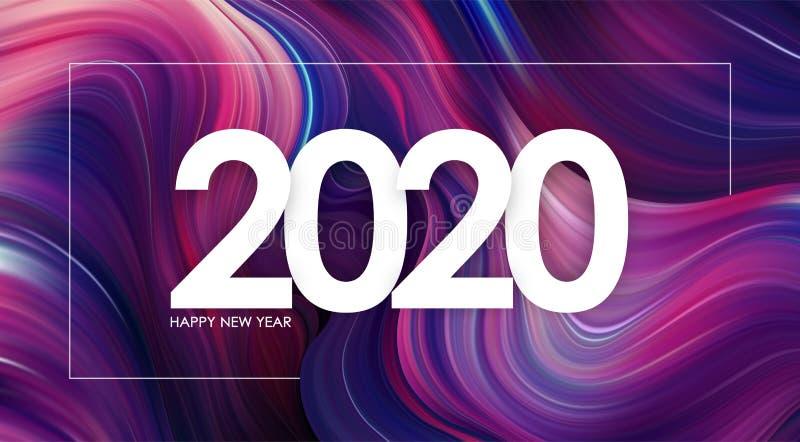 Ano novo feliz 2020 no projeto na moda do fundo colorido moderno do fluxo ilustração royalty free