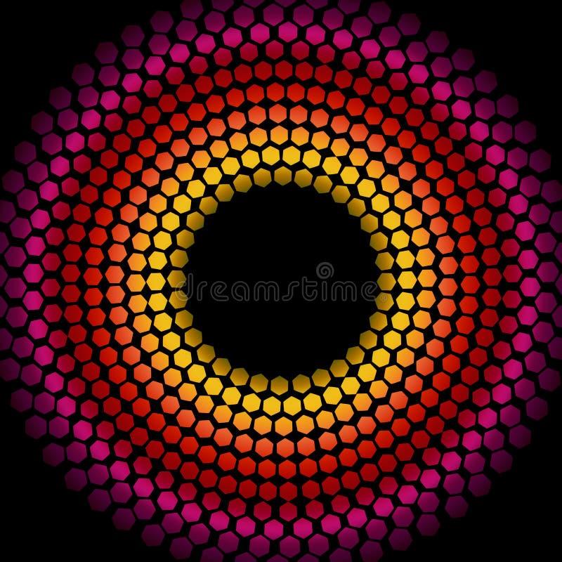 Ano novo feliz 2015 - o disco do hexágono ilumina-se ilustração stock