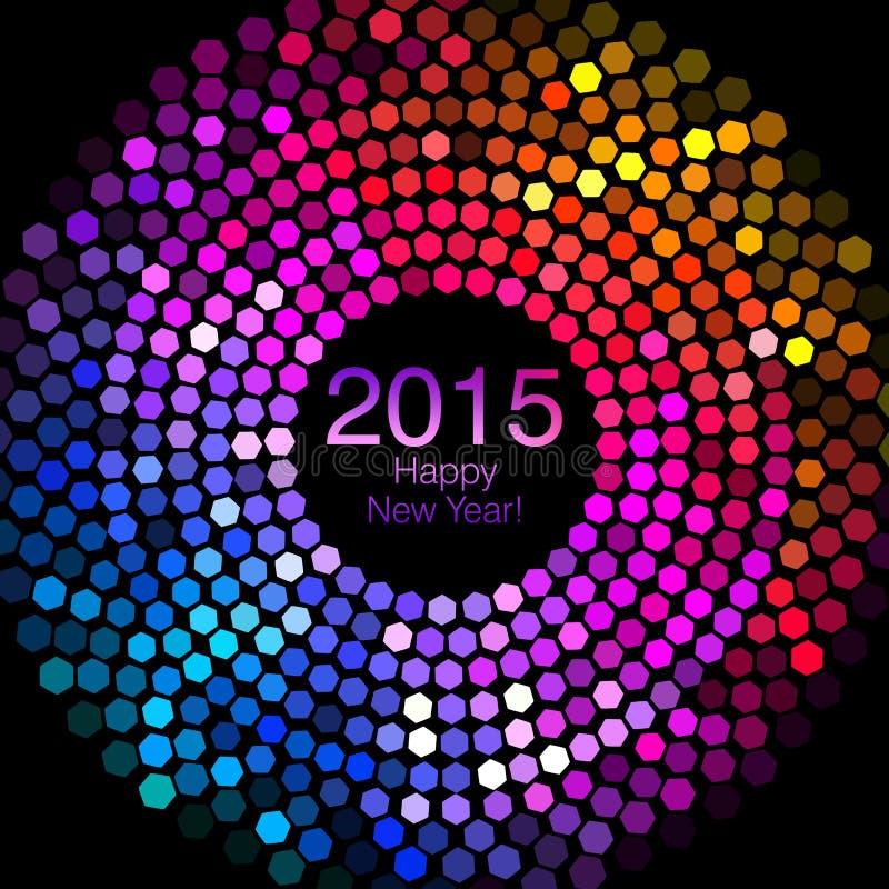 Ano novo feliz 2015 - o disco do hexágono ilumina-se ilustração royalty free
