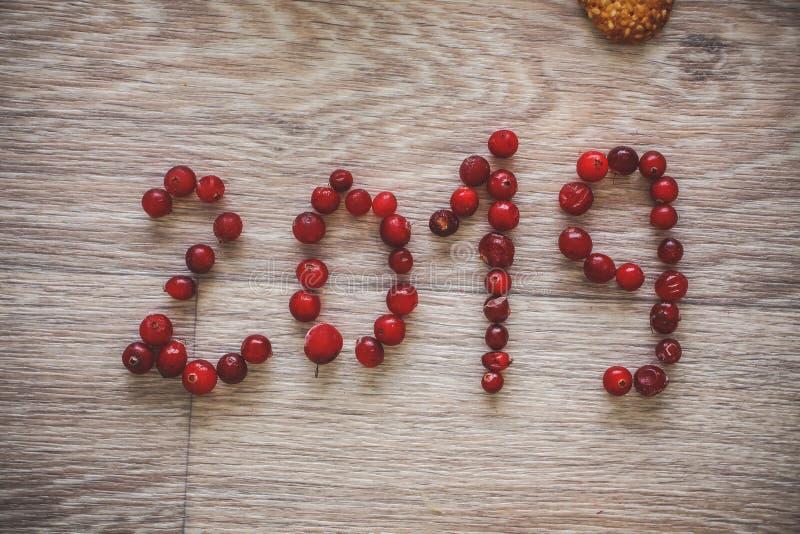 Ano novo feliz o ano 2019 e o biscoito do gengibre são escritos no tampo da mesa brilhante com bagas vermelhas imagens de stock