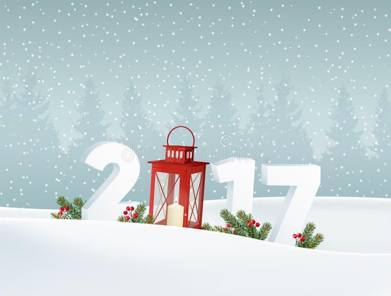 Ano novo feliz 2017 Paisagem branca com floresta, números do inverno, neve de queda Decoração do Natal com ramos do abeto ilustração royalty free