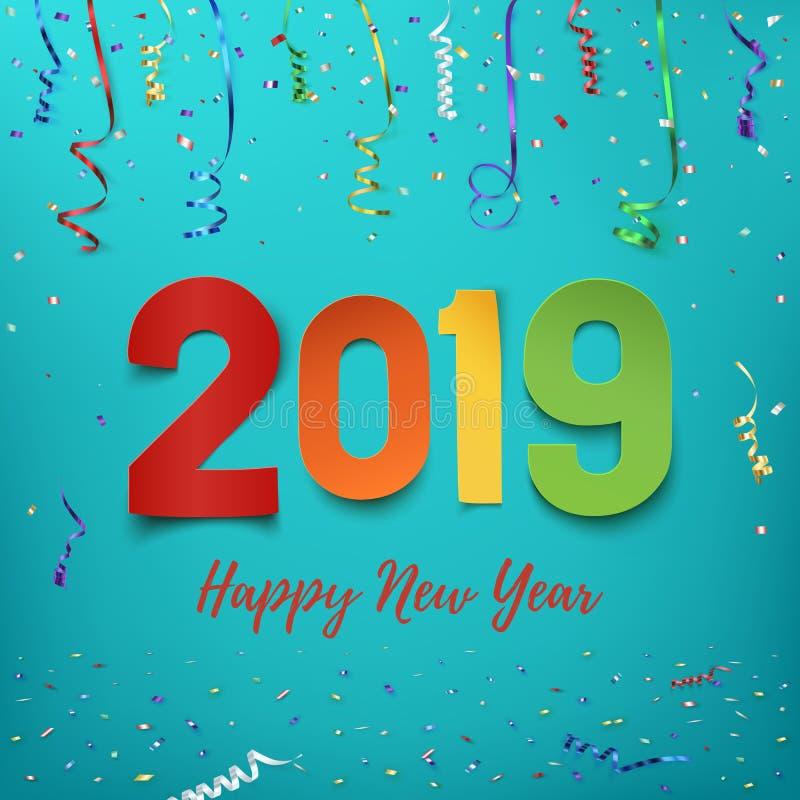 Ano novo feliz 2019 Projeto abstrato de papel colorido ilustração stock