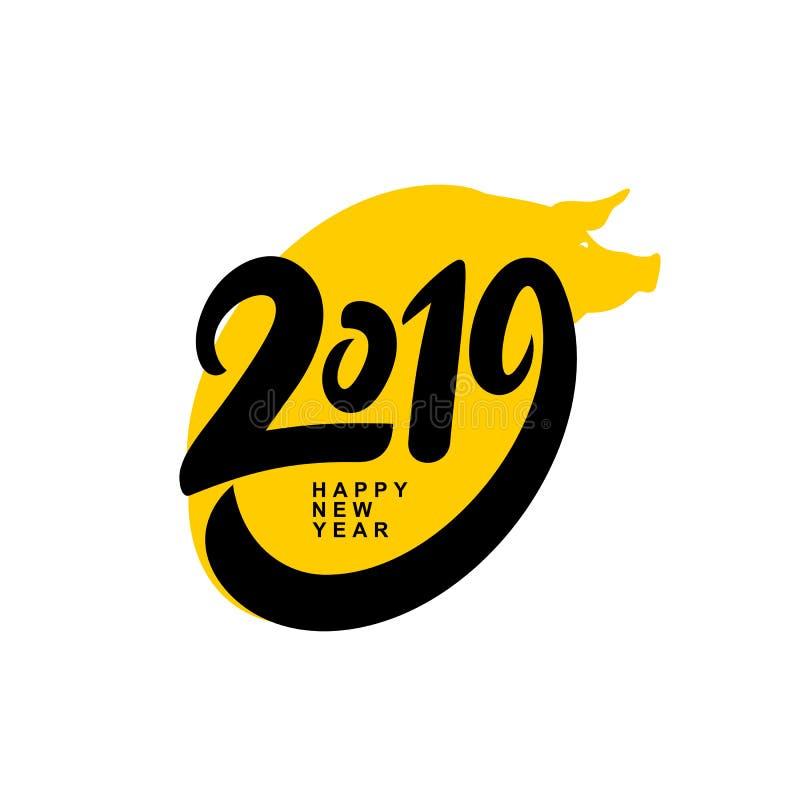 Ano novo feliz 2019 Projeto de cartão com a cara do porco do amarelo dos desenhos animados Ilustração do vetor Isolado no fundo b ilustração do vetor