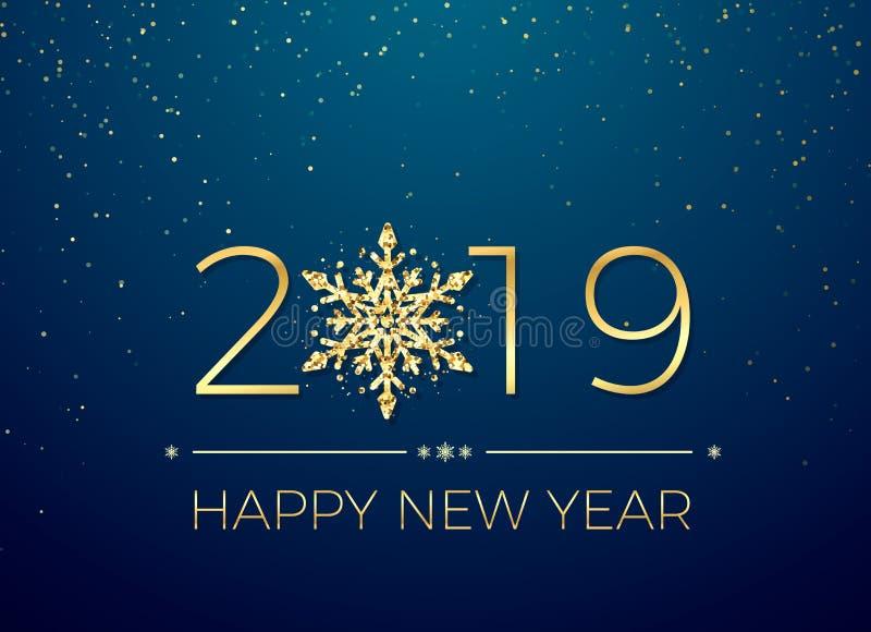 Ano novo feliz 2019 Projeto do texto do cartão Anos novos da bandeira com números dourados e floco de neve Vetor ilustração stock