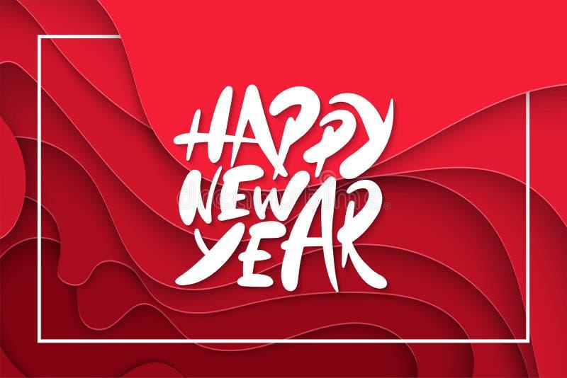 ano novo feliz 2019 que rotula, disposição do sumário 3D de projeto para cartões, cartazes, cópias, decoração, bandeiras ilustração royalty free