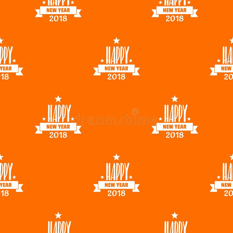 Ano novo feliz que rotula a laranja do vetor do teste padrão ilustração stock