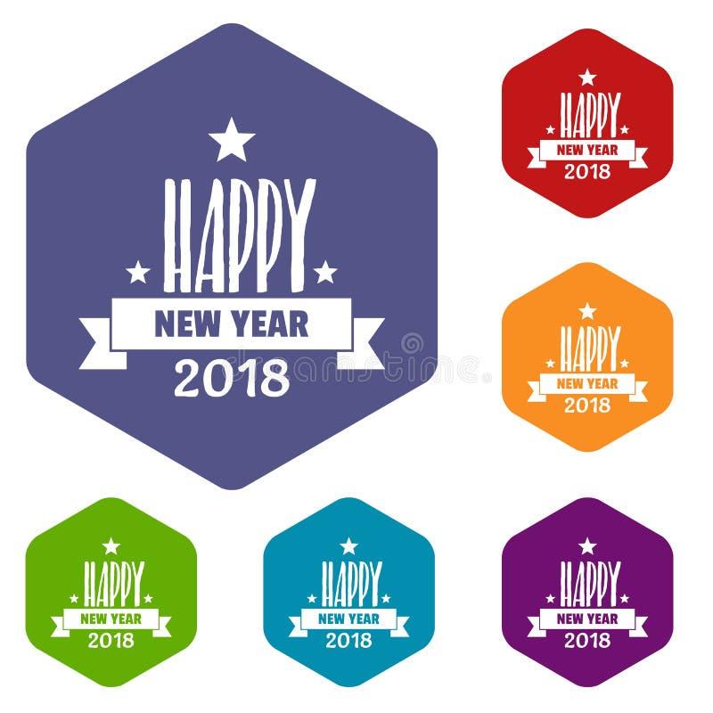 Ano novo feliz que rotula o hexahedron do vetor dos ícones ilustração do vetor