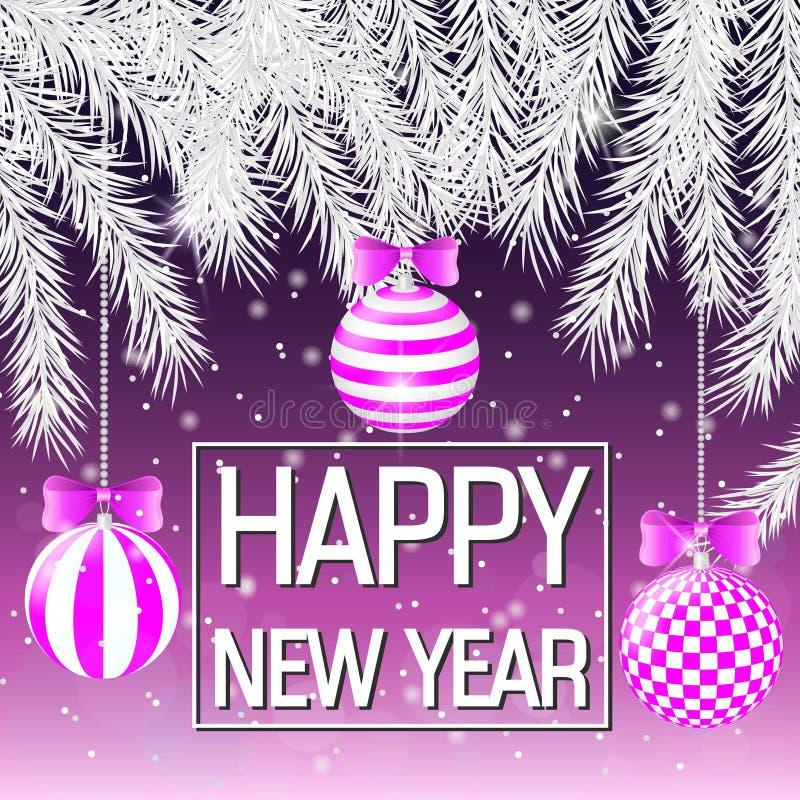 Ano novo feliz Ramos do abeto vermelho de prata Bolas cor-de-rosa com teste padrão geométrico Cartão, bandeira ilustração stock