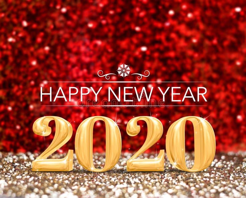 Ano novo feliz 2020 rendição do número 3d do ano no ouro efervescente e no fundo vermelho do estúdio do brilho, cartão do feriado ilustração stock