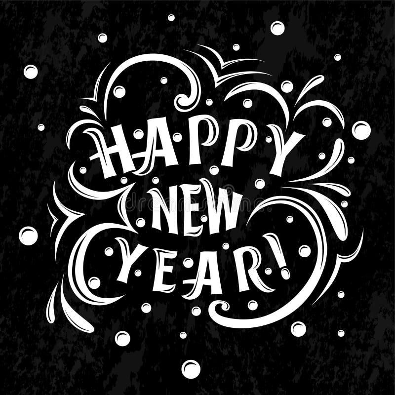 Ano novo feliz! rotulação em um fundo preto ilustração royalty free