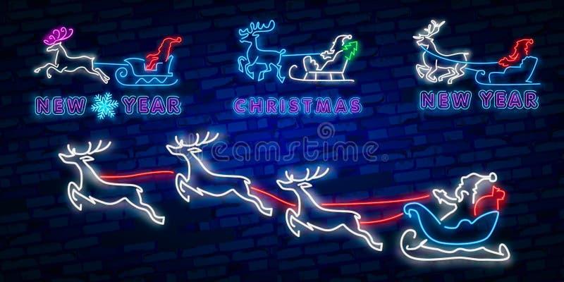 Ano novo feliz 2019 Sinal de néon dos cervos Sinal de néon Partido da noite logo bandeira Feliz Natal Rena bonito com bolas do Na ilustração do vetor