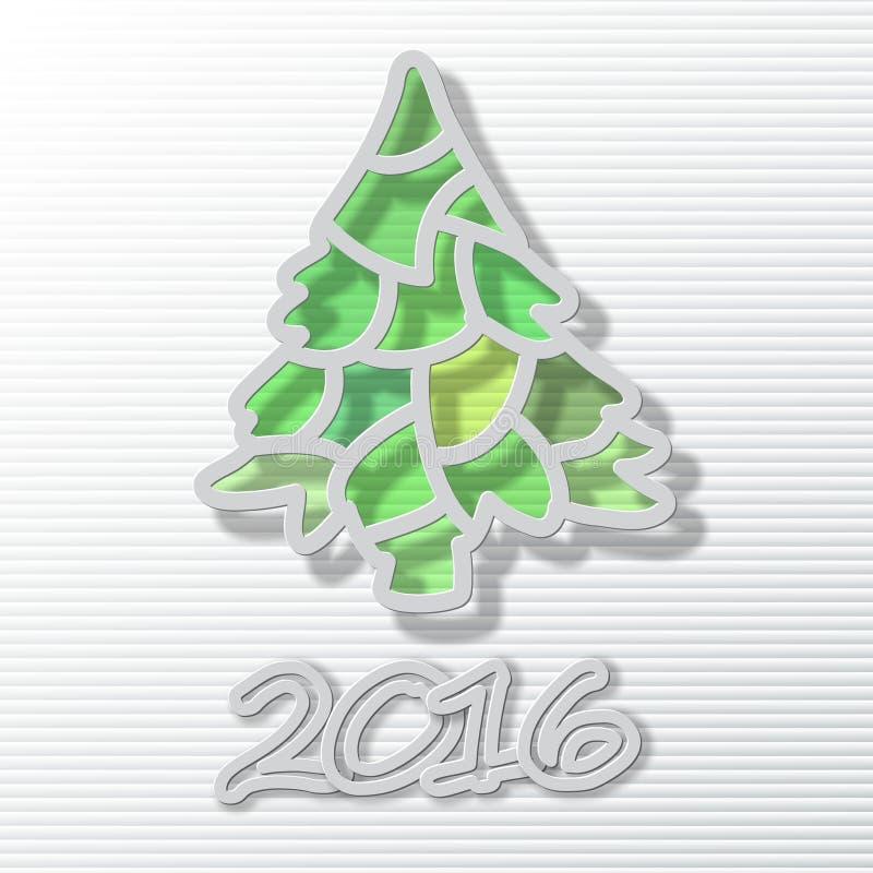 Ano novo feliz 2016, tema do Natal, árvore de Natal ilustração royalty free