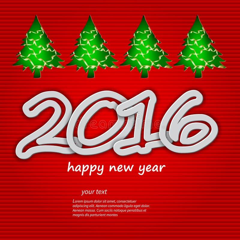 Ano novo feliz 2016, tema do Natal ilustração stock