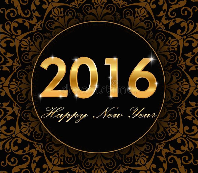Ano novo feliz 2016 - teste padrão floral do ouro com o cartão 2016 da tipografia ilustração do vetor