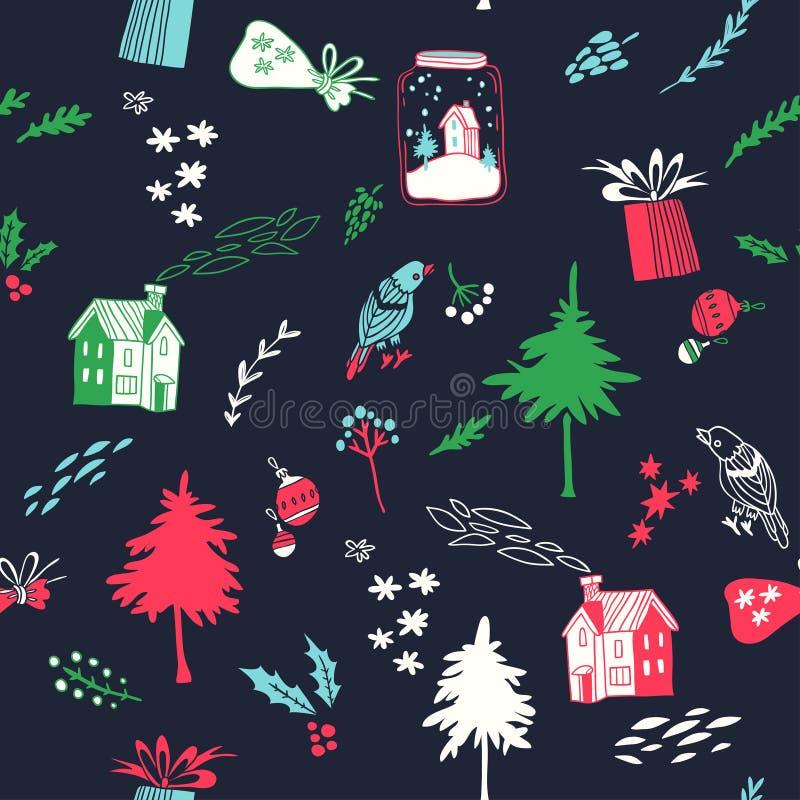 Ano novo feliz Teste padrão sem emenda do vetor com synbols dos feriados ilustração stock