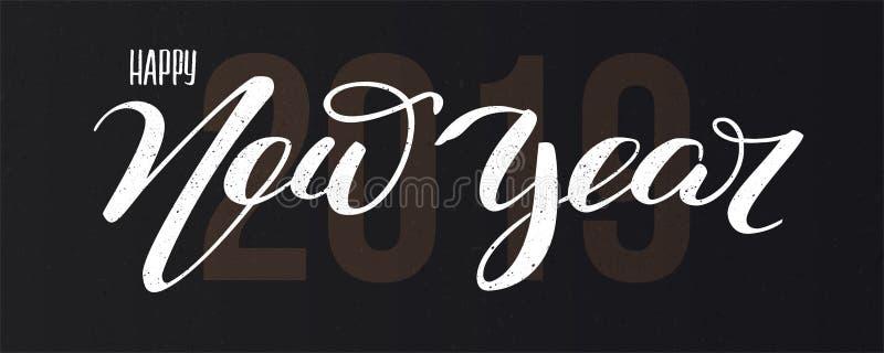 Ano novo feliz 2019, texto da mão-rotulação dos cumprimentos Cartão com projeto da inscrição caligráfica da escrita feliz ilustração do vetor