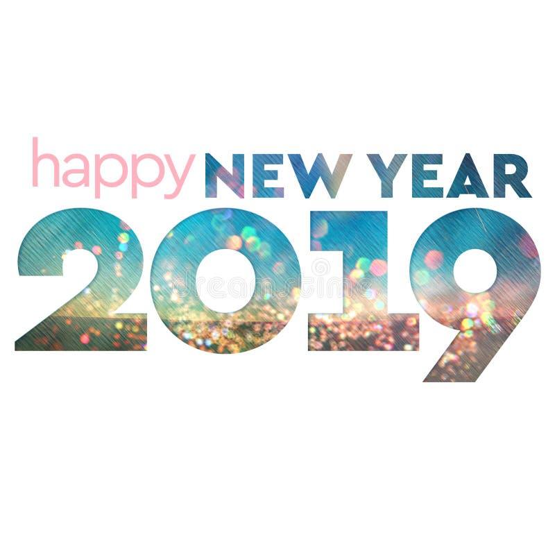 Ano novo feliz Textured Bokeh na moda 2019 fotos de stock royalty free
