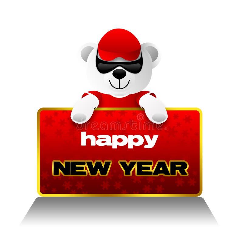 Ano novo feliz, urso da peluche, feriados ilustração royalty free
