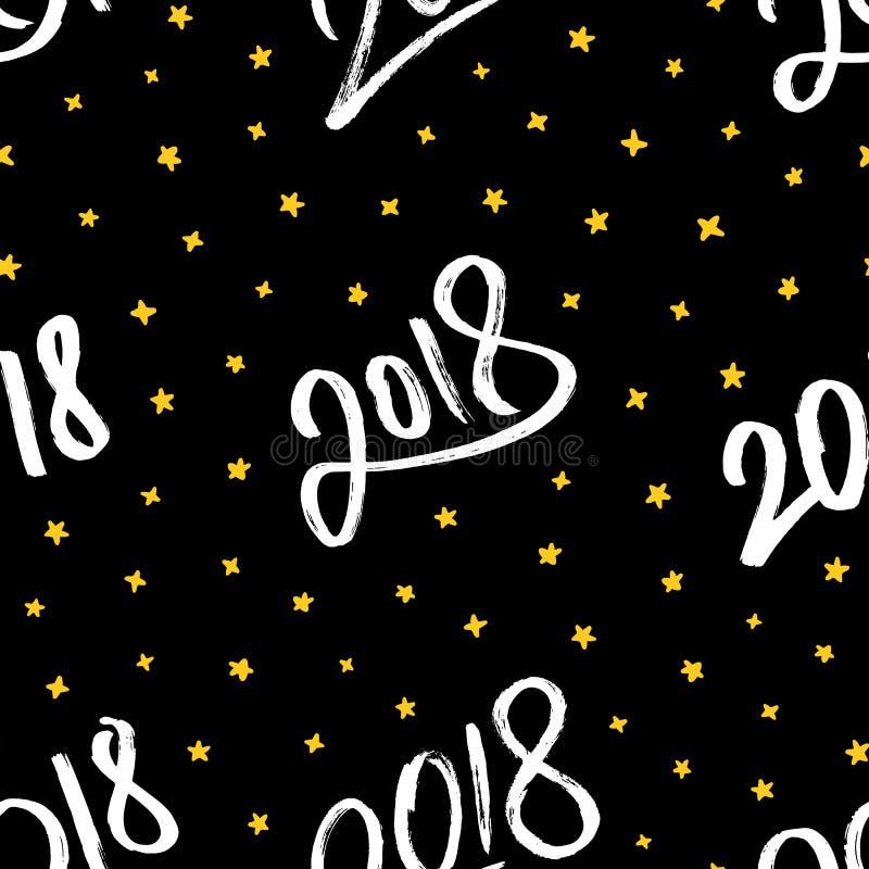 Ano novo feliz 2018 Vector o teste padrão sem emenda ilustração stock