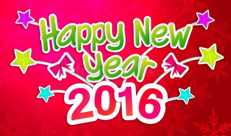 Ano novo feliz vermelho 2016 Art Paper Card de cumprimento ilustração royalty free