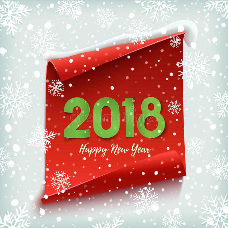 Ano novo feliz 2018 Vermelho, bandeira de papel ilustração do vetor