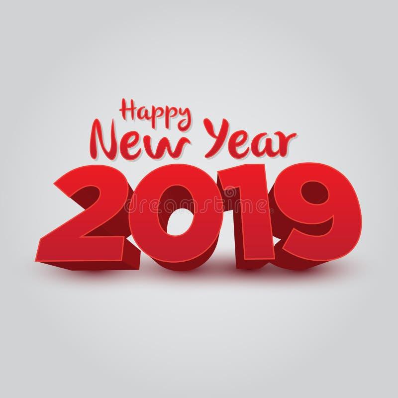 Ano novo feliz 2019 - vetor 3D ilustração do vetor