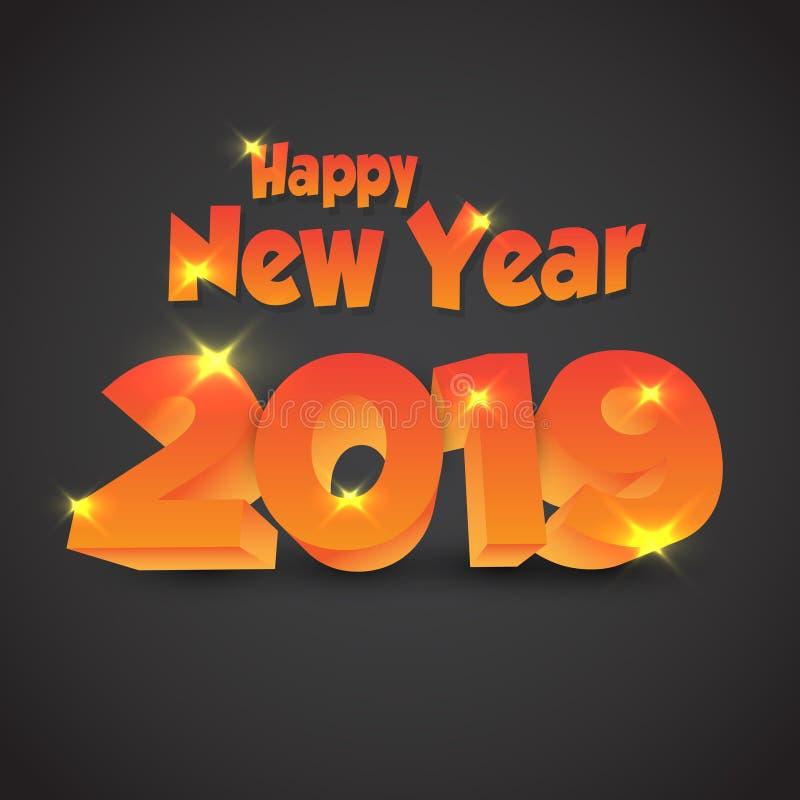 Ano novo feliz 2019 - vetor 3D ilustração royalty free