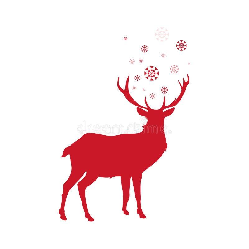 Ano novo feliz - vetor dos veados vermelhos ilustração royalty free