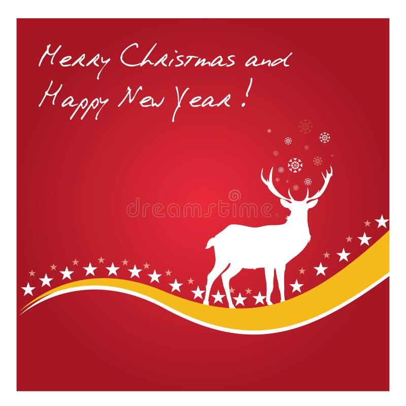 Ano novo feliz - vetor dos veados vermelhos ilustração do vetor