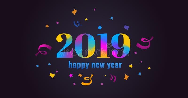 Ano novo feliz 2019 Virant, illustartion colorido do vetor ilustração do vetor