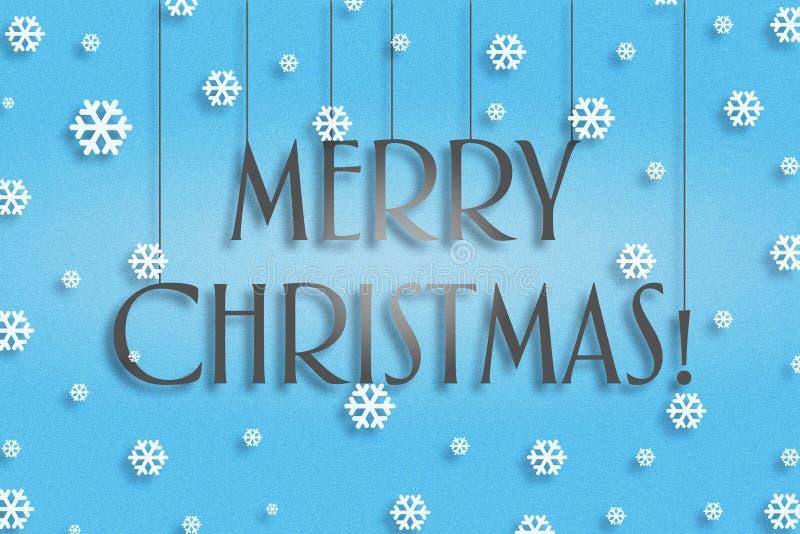 Ano novo, fundo do Natal O Feliz Natal da inscrição Em um fundo azul ilustração stock
