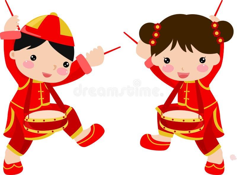Ano novo Greetings_children ilustração do vetor