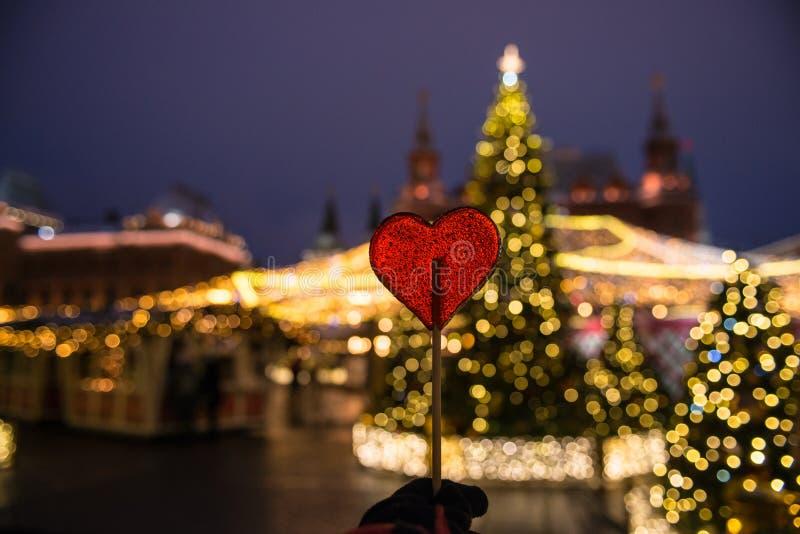 Ano novo, inverno Moscou em toda sua iluminação festiva fotografia de stock royalty free