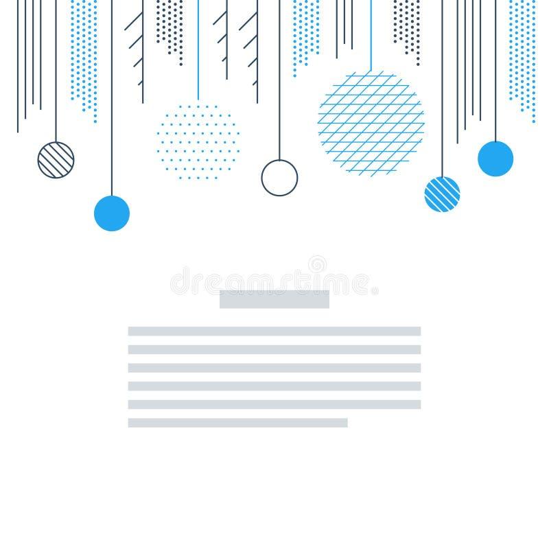 Ano novo, molde do cartão de Natal Vetor minimalistic da decoração do Xmas ilustração stock