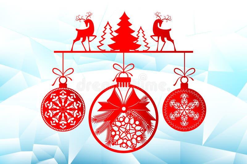 Ano novo, moldes de corte do laser do Natal Decorações do feriado em 2019 em um cervo gelado do fundo, árvores do inverno ilustração stock