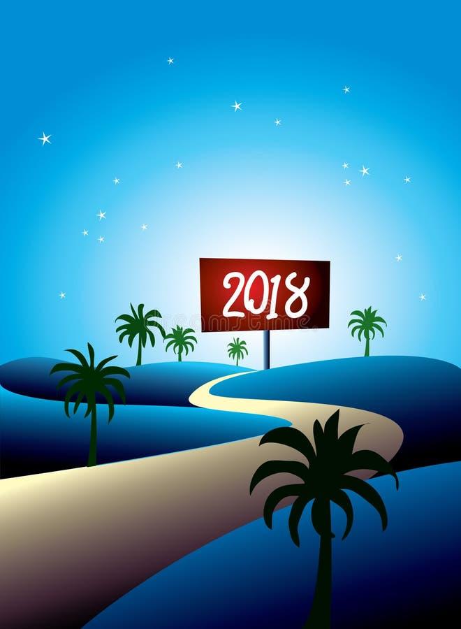 Ano novo placa do sinal de 2018 invernos ilustração do vetor