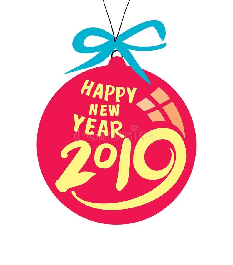 Ano novo vermelho da bola do Natal em 2019 ilustração do vetor