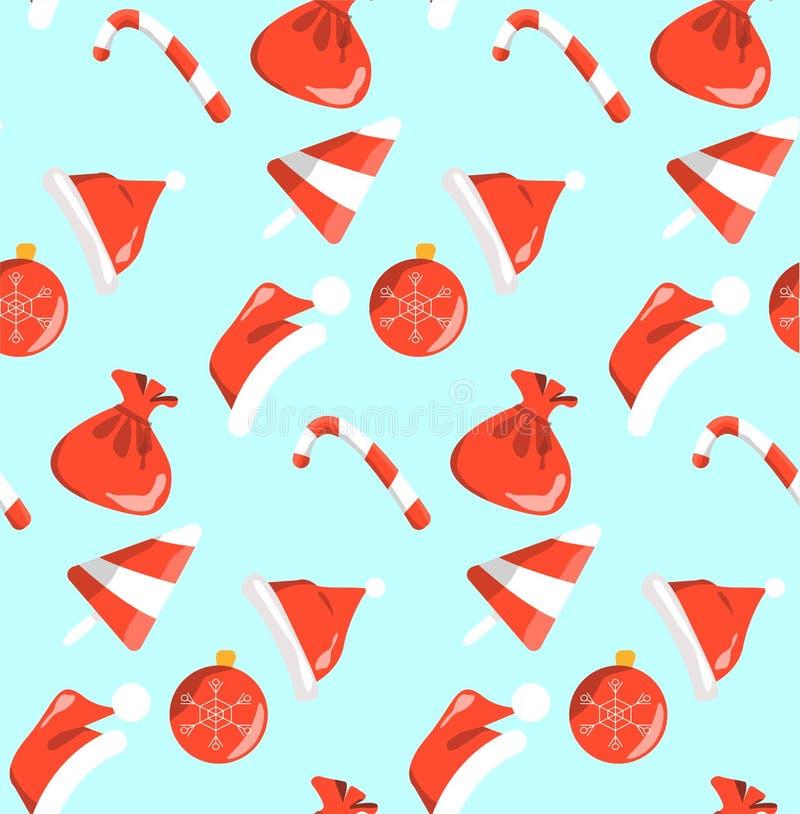 Ano novo vermelho e doces brancos do teste padrão dos objetos sem emenda no fundo azul ilustração stock