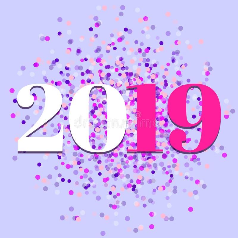 2019, ano novo, vetor colorido dos confetes ilustração stock