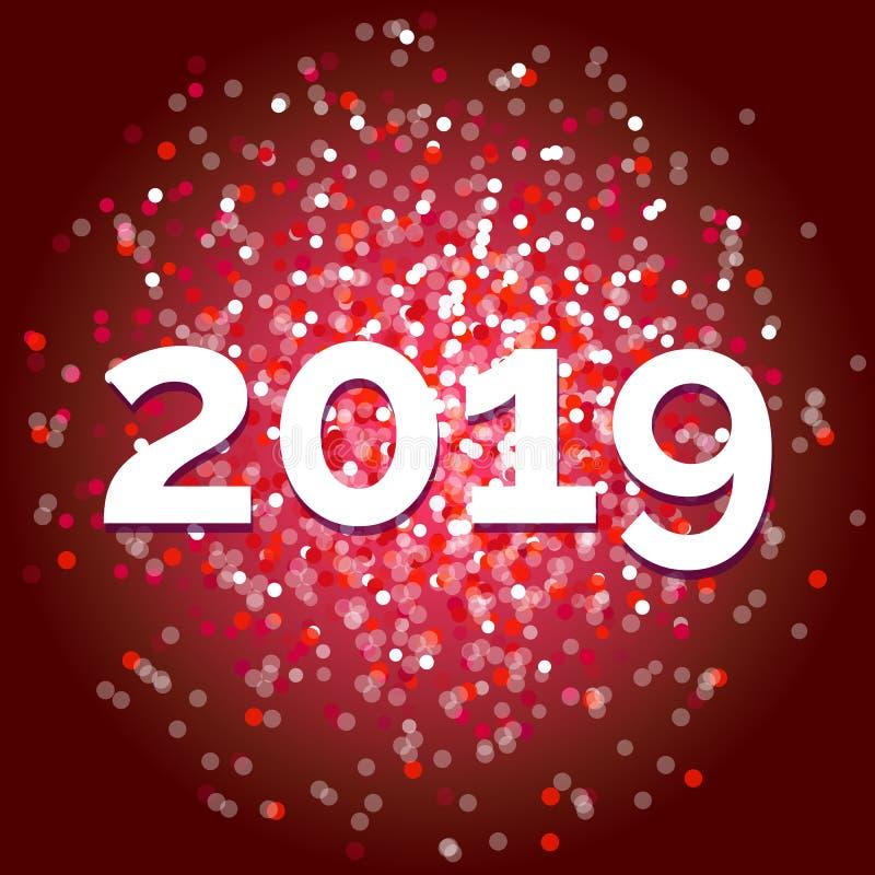 Ano novo 2019, vetor vermelho extravagante do brilho ilustração royalty free
