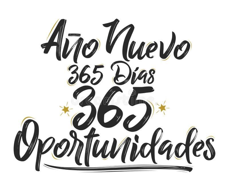 Ano Nuevo 365 Dias, 365 Oportunidades, nytt år 365 dagar, spansk text för 365 tillfällen vektor illustrationer