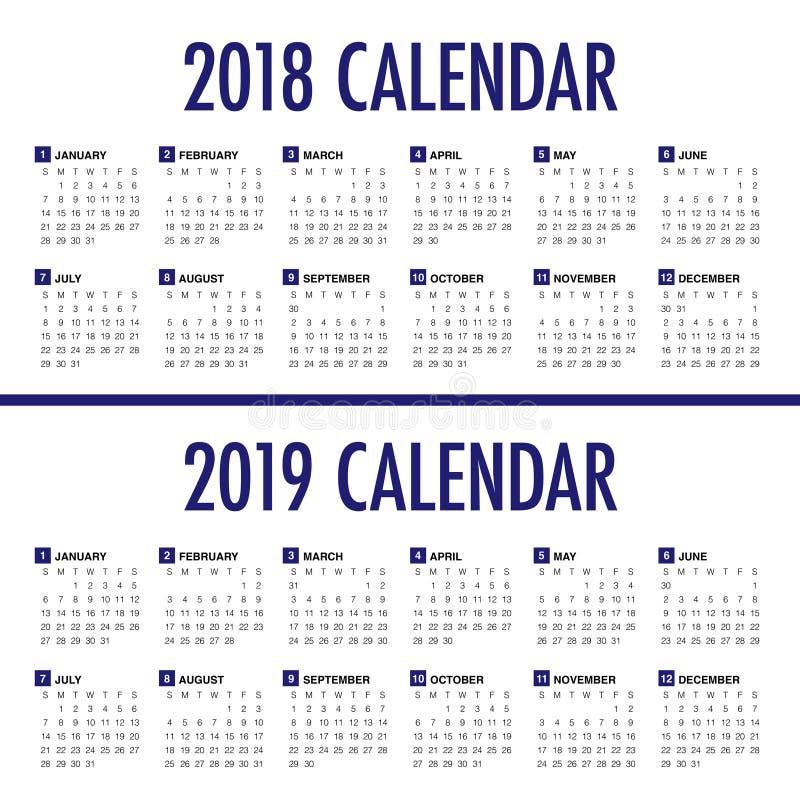 Ano 2018 vetor de 2019 calendários ilustração do vetor