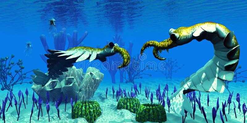 Anomalocaris em mares cambrianos ilustração stock
